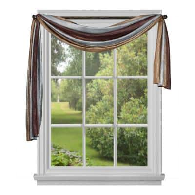 Ombre 144 in. L Polyester Window Curtain Scarf in Chocolate