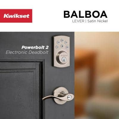Powerbolt2 Satin Nickel Single Cylinder Electronic Deadbolt Featuring SmartKey Security and Balboa Passage Lever