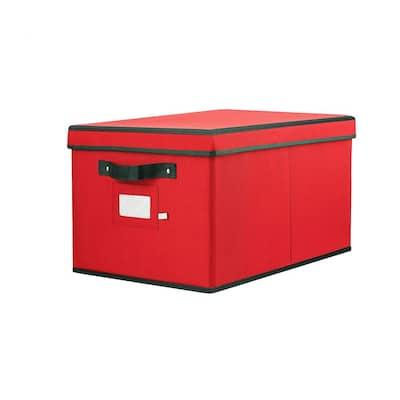 10 in.Red Polyester 600 Denier Oxford Christmas Light Storage Box(800-Light Bulbs)