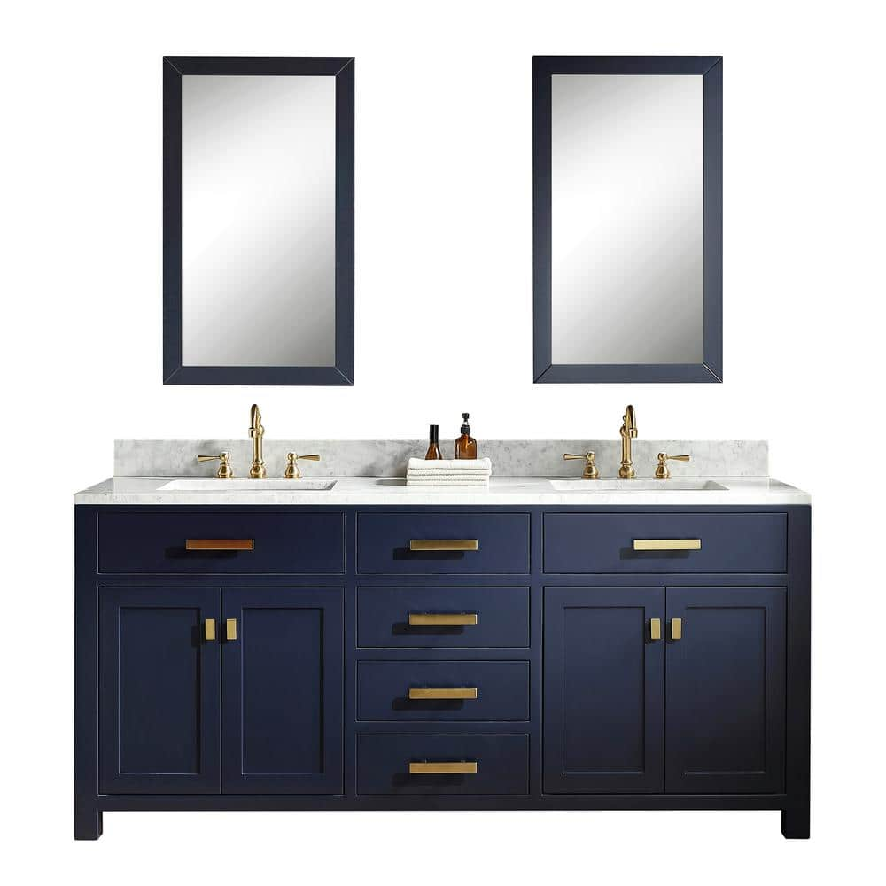 Water Creation Madison 72 In Bath Vanity In Monarch Blue With Carrara White Marble Vanity Top With White Basins Vmi072cwmb00 The Home Depot