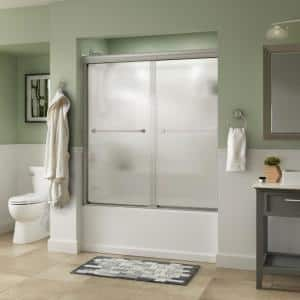 Everly 60 in. x 58-1/8 in. Traditional Semi-Frameless Sliding Bathtub Door in Nickel and 1/4 in. (6mm) Rain Glass