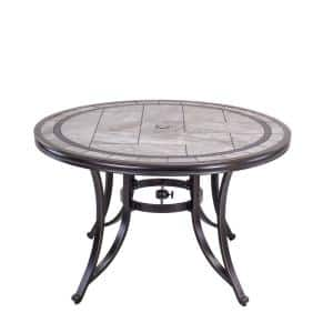 Brown 46 in. Round Patio Dining Table with Handmade Porcelain Top and Heavy-Duty Frame