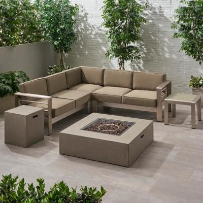 Cape Coral Silver and Light Grey 6-Piece Aluminum Patio Fire Pit Sectional Seating Set with Natural Cushions