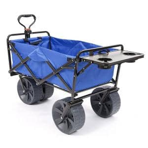 7 cu. ft. Fabric Collapsible All Terrain Beach Utility Wagon Garden Cart with Table, Blue