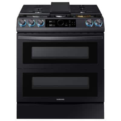 30 in. 6 cu. ft. Flex Duo Slide-in Gas Range with Smart Dial and Air Fry in Fingerprint Resistant Black Stainless Steel