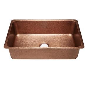 David Luxury Undermount Handmade Solid Copper 31 in. Single Bowl Kitchen Sink in Hammered Antique Copper