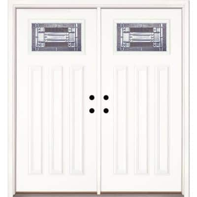 74 in. x 81.625 in. Preston Zinc Craftsman Unfinished Smooth Right-Hand Inswing Fiberglass Double Prehung Front Door