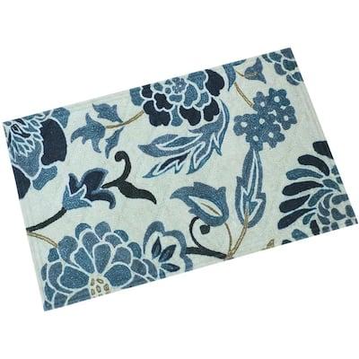 Blue Floral 23 in. x 35 in. Kitchen Floor Mat