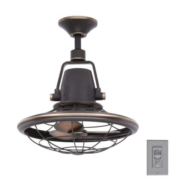 Home Decorators Collection Bentley Ii 18 In Indoor Outdoor Tarnished Bronze Oscillating Ceiling Fan With Wall Control Al14 Tb The Home Depot