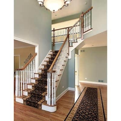 Kurdamir Rockland Black 33 in. x Your Choice Length Stair Runner