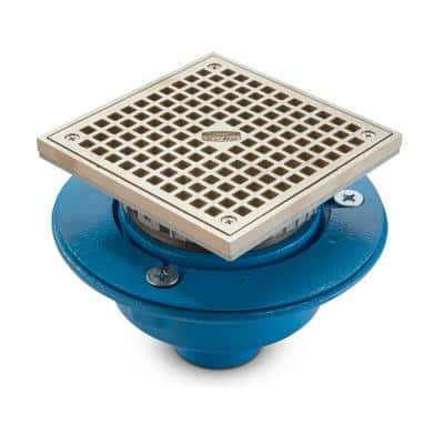 6 in. Square Nickel Bronze Floor Drain with 2 in. No-Hub Outlet and Cast Iron Body