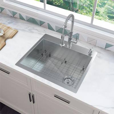 Zero Radius All-in-One Drop-In/Undermount 16-Gauge Stainless Steel 27 in. Single Bowl Kitchen Sink with Faucet