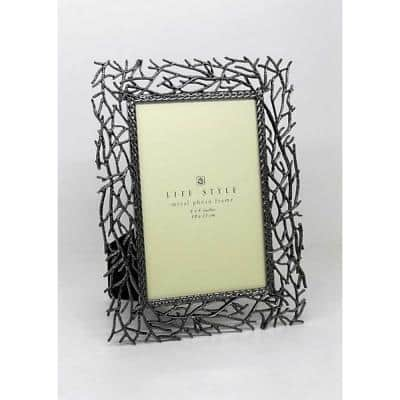 5 in. x 7 in. Gray Color Twig Picture Frame with Metal
