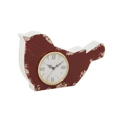 Red Farmhouse Wood Analog Clock