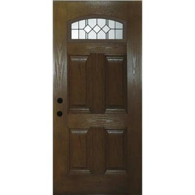36 in. x 80 in. Right-Handed Epic Cambertop 1/4 Lite Decorative Glass Chestnut Finished Fiberglass Front Door Slab