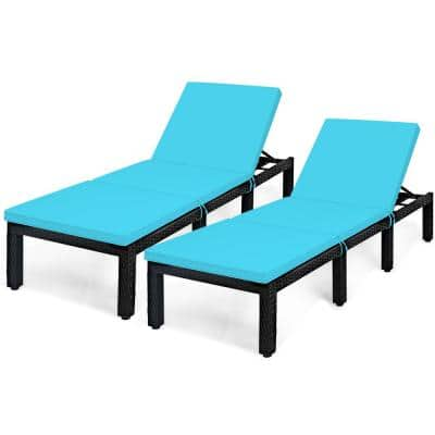 Wicker Outdoor Lounge Chair with Turquoise Cushion (2-Pack)