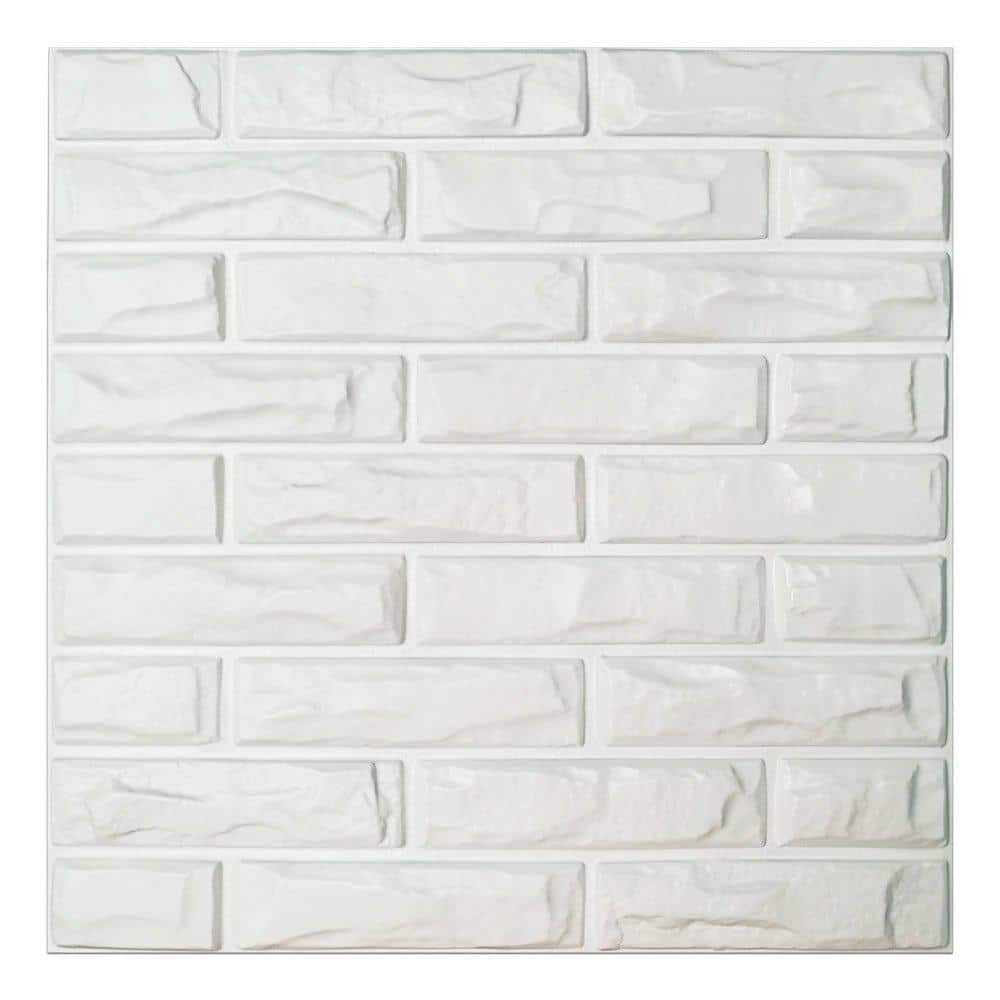 Art3dwallpanels 19 7 In X 19 7 In White Pvc 3d Wall Panels Brick Wall Design 12 Pieces A10hd039 The Home Depot