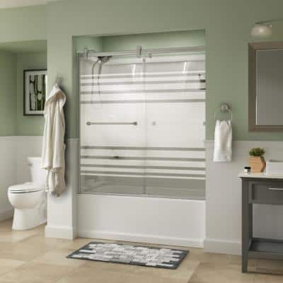 Everly 60 in. x 58-1/8 in. Contemporary Semi-Frameless Sliding Bathtub Door in Nickel and 1/4 in. (6mm) Transition Glass