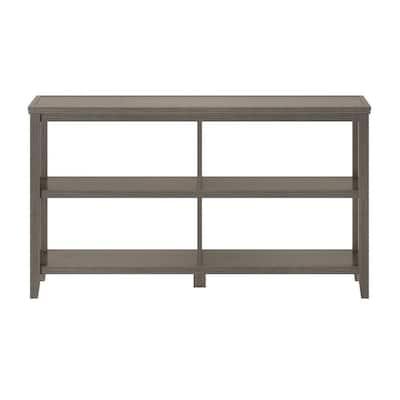 NewRidge 30.25 in. Washed Grey Wooden 2-Shelf Horizontal Bookcase with Open Back