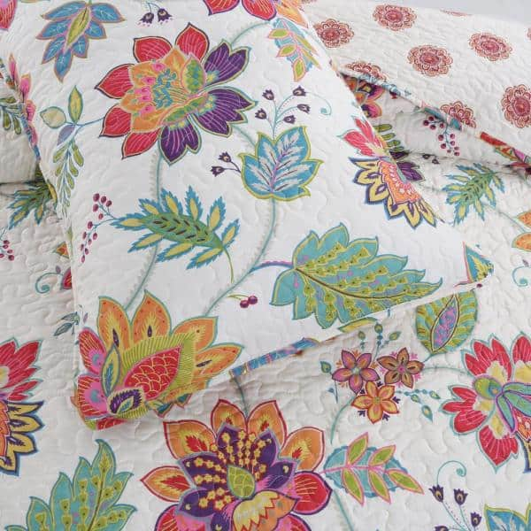 Cozy Line Home Fashions Floral Rainbow Gypsy Blooms 3 Piece Multi Color Pink Purple Blue Green Orange Chintz Poly Cotton King Quilt Bedding Set Bb2020 049k The Home Depot