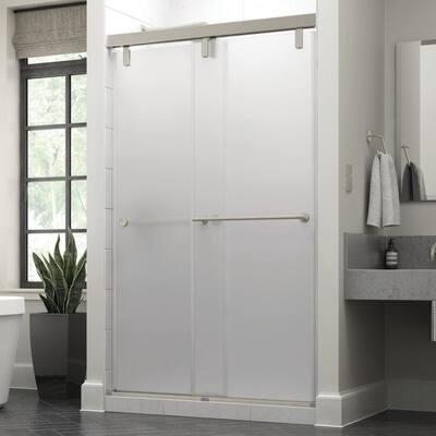 Everly 48 in. x 71-1/2 in. Mod Semi-Frameless Sliding Shower Door in Nickel and 3/8 in. (10mm) Niebla Glass