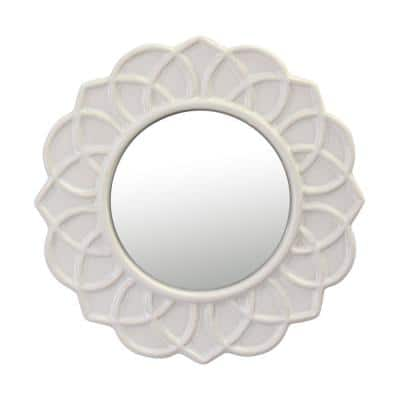 9 in. x 9 in. Decorative Round Ivory White Floral Ceramic Wall Hanging Mirror