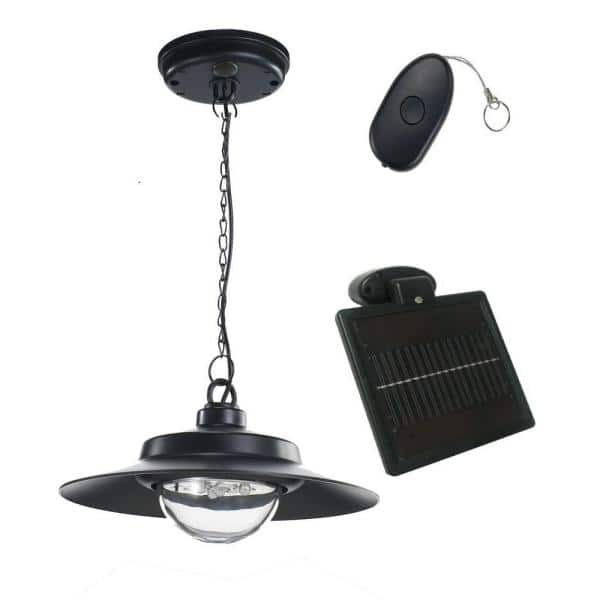 Nature Power 4 Light Black Indoor Outdoor Solar Powered Led Hanging Shed Light With Remote Control 21030 The Home Depot