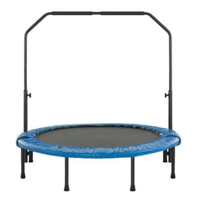 48 in. Mini Indoor/Outdoor Foldable Trampoline with Adjustable Handrail