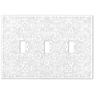 Momfort 3 Gang Toggle Metal Wall Plate - White