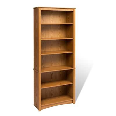 77 in. Oak Wood 6-shelf Standard Bookcase with Adjustable Shelves