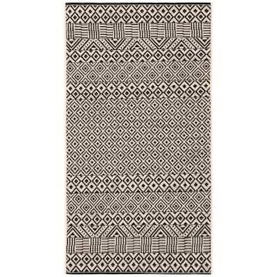 Courtyard Beige/Black 3 ft. x 5 ft. Tribal Striped Diamonds Indoor/Outdoor Area Rug
