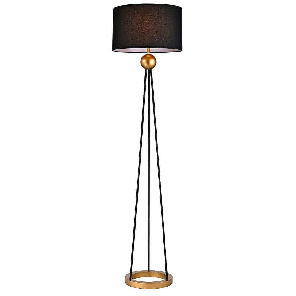 Warehouse Of Tiffany Kirsten 69 In 1 Light Indoor Gold And Black Finish Floor Lamp With Light Kit Fm166 1bl The Home Depot