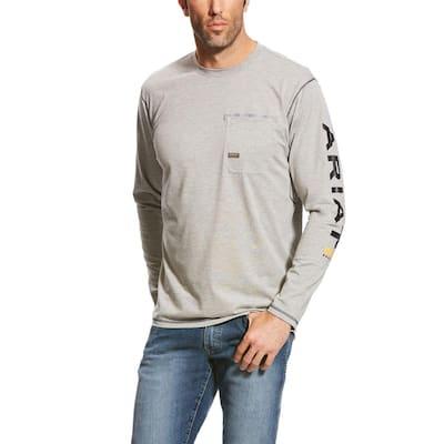 Men's Size Large Heather Gray Rebar Logo Long Sleeve Work T-Shirt