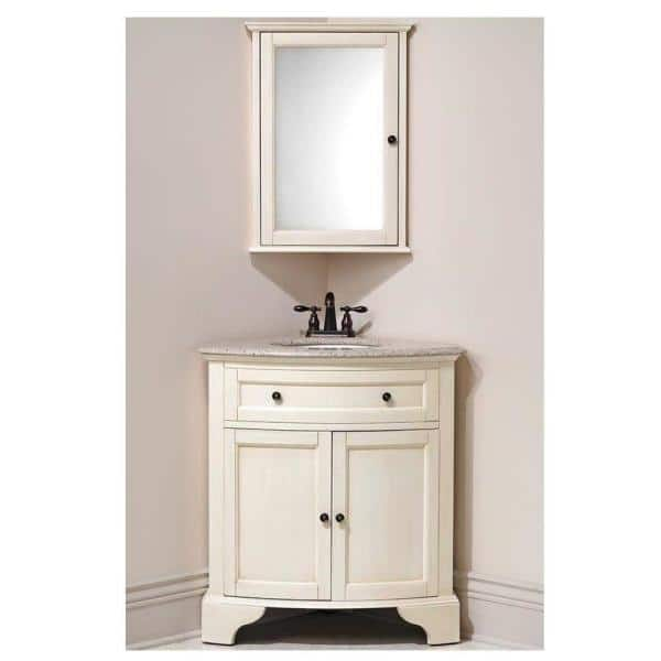 Home Decorators Collection Hamilton 20 In W X 27 In H Surface Mount Corner Wall Medicine Cabinet In Ivory 0567700410 The Home Depot