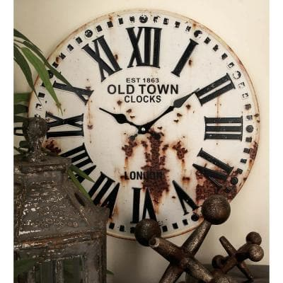 Rustic Station Clock and License Plate Wall Clock in Distressed Iron (2-Pack)