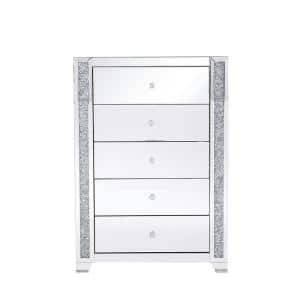 Timeless Home 5-Drawer in Clear Mirror Storage Cabinet 47.5 in. H x 34 in. W x 16 in. D