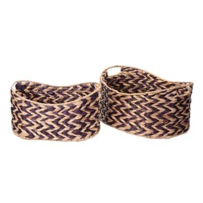 8 in. W x 12 in. H Handmade Water Hyacinth Oval Braided Wicker Nesting Baskets in Brown (2-Pack)