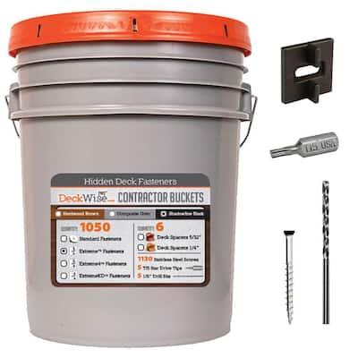 Extreme Ipe Clip Black Biscuit Style Hidden Deck Fastener Kit for Hardwoods (1050-Bucket)