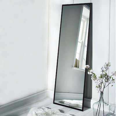 Oversized Black Plastic Beveled Glass Glam Mirror (65 in. H X 22 in. W)