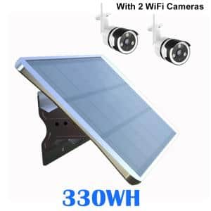 52W Off Grid Mono Solar Generator 330WH Modular 12V/48VPoE Dual Power for 2 IPC CCTV RF-Mobile Devices Commercial Sign