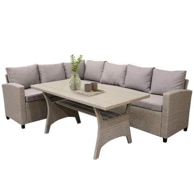 Charlottetown 3-Pieces Wicker Patio Sectional Sofa Set with Table With Brown Cushions