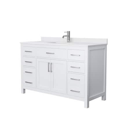 Beckett 54 in. W x 22 in. D Single Vanity in White with Cultured Marble Vanity Top in White with White Basin