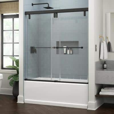 Everly 60 in. x 59-1/4 in. Mod Semi-Frameless Sliding Bathtub Door in Matte Black and 3/8 in. (10mm) Clear Glass