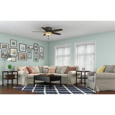 Newsome 52 in. Indoor Premier Bronze Low-Profile Ceiling Fan With LED Light Kit and Remote