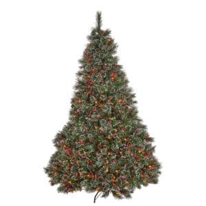 9 ft. Pre-Lit Cashmere and Mixed Spruce Artificial Christmas Tree with Multi-Colored Lights Snowy Branches and Pinecones