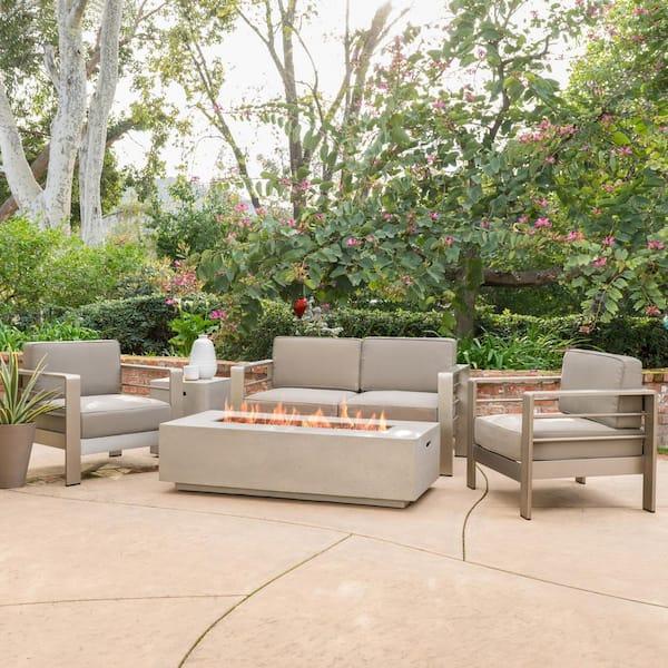 Noble House Cape Coral Silver 5 Piece Aluminum Patio Fire Pit Conversation Set With Khaki Cushions 11883 The Home Depot