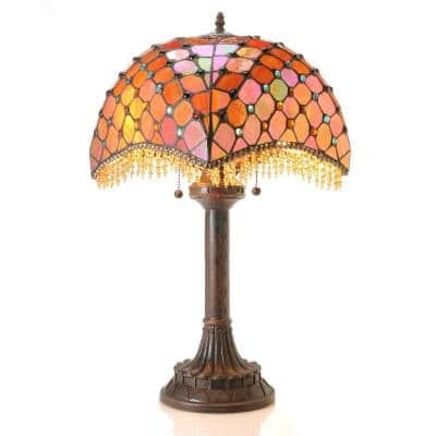 25 in. Bronze Beaded 2-Light Indoor Table Lamp with Pull Chain