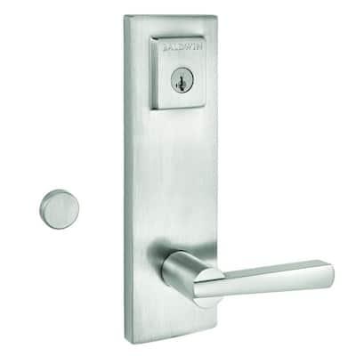 Prestige Spyglass Satin Nickel Universal Entrance Door Handleset Featuring SmartKey Security
