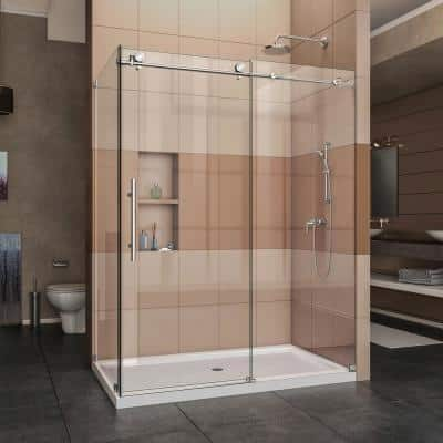 Enigma-X 32 1/2 in. D x 60 3/8 in. W x 76 in. H Frameless Corner Sliding Shower Enclosure in Polished Stainless Steel