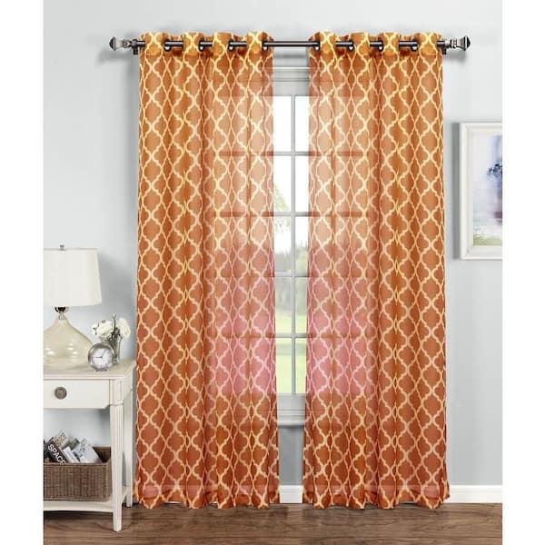 Window Elements Orange Trellis Grommet, Sheer Orange Curtains